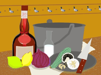 Fifties-style artwork showing ingredients for cooking a duck