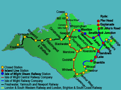 A map of the Isle of Wight rail network