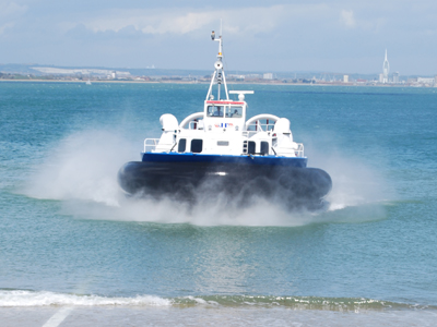 Hovercraft arriving at Ryde, Isle of Wight, UK.