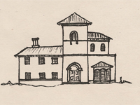 Drawing of an Italian Villa style house.