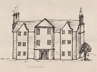 Drawing of a Jacobean style house.