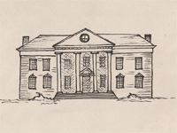 Drawing of a Jefferson Classicism style house.