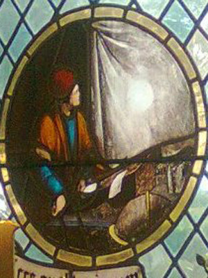Stained glass window commemorating Jeremiah Horrocks observing the Venus transit in 1639.