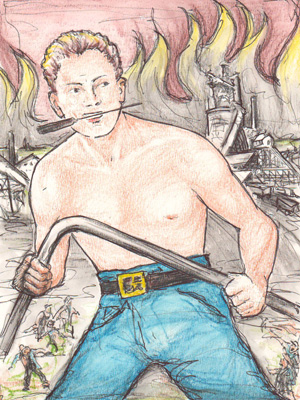 An artist's impression of Joe Magarac bending a bar of steel with his bare hands.