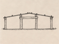 Section drawing of a plank house.
