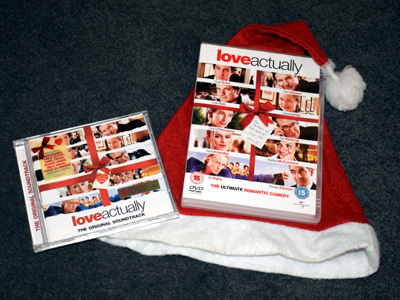 Love Actually DVD and CD with Santa Hat