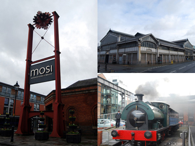 Three photos of Museum of Science and Industry, Manchester.