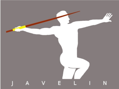 Artwork depicting male figure throwing javelin.