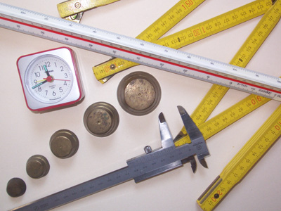 Rulers and other measuring equipment.