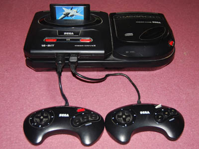 A photo of a Sega Mega Drive console.