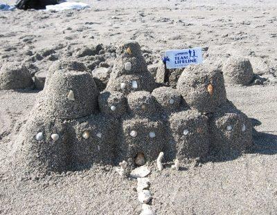 Team Lifeline formed of Sand