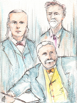 (L to R) William Cusins, Edward Elgar and Walter Parratt.