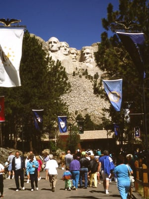 Tourists visiting Mount Rushmore, South Dakota