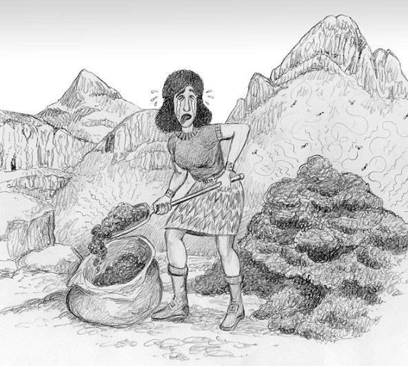 Narlesha gathering dung.