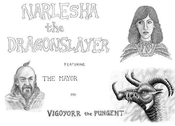 Narlesha the Dragonslayer title by Willem.