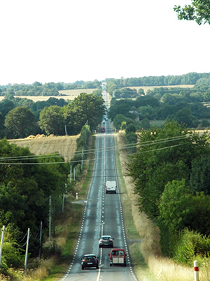 A road through the Normandy countryside