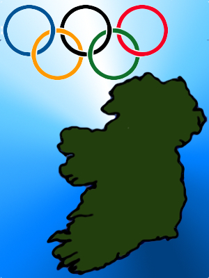 Artists impression of Ireland and the Olympic Rings.