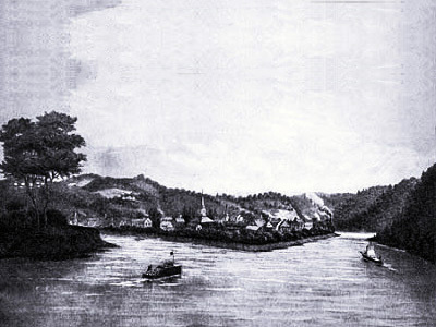 Pittsburgh in 1817, from a sketch made by Mrs. E. C. Gibson, wife of James Gibson of the Philadelphia bar, while on their wedding tour.