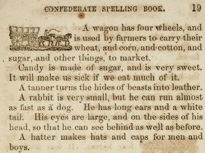 A page from the Confederate Spelling Book in 1865.