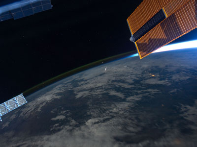 A Perseid meteor seen from the ISS