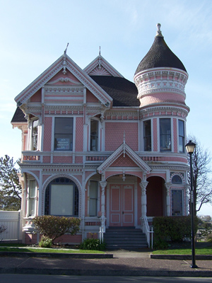 A 'Pink Lady' Queen Anne style house.