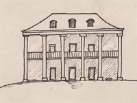 Drawing of a Plantation style house.