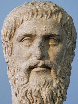 A photograph of a bust of Plato, copyright Marie-Lan Nguyen.