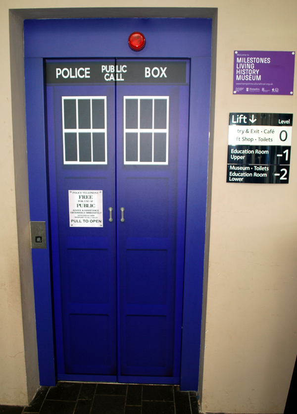 A lift door that looks like a Tardis.
