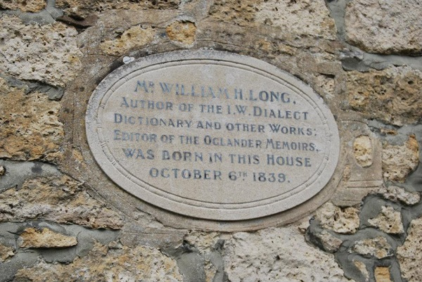 Plaque in memory of WH Long, who compiled an Isle of Wight dictionary. Photographed by Bluebottle.