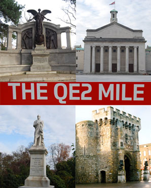 A composite picture showing sights along the QE2 mile including the Titanic Engineer Officers' Memorial, the Civic centre, the QE2 Mile signpost and a statue of Lord Palmerston and the Bargate