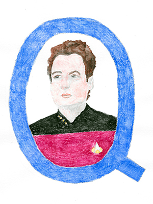 Drawing of Q in a letter Q