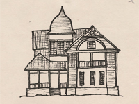 Drawing of a Queen Anne style house.