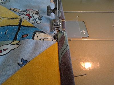 Stitching along the binding