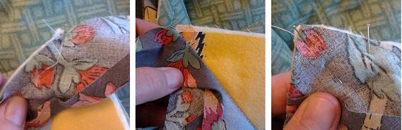 Stitching binding in corner
