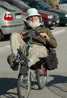 A Recumbent Bike.