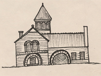 Drawing of a Richardsonian Romanesque style house.