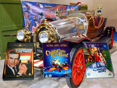 DVDs in front of the Isle of Wight's replica Chitty Chitty Bang Bang