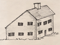 Drawing of a 'Saltbox' house.