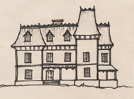 Drawing of a Second French Empire style house.