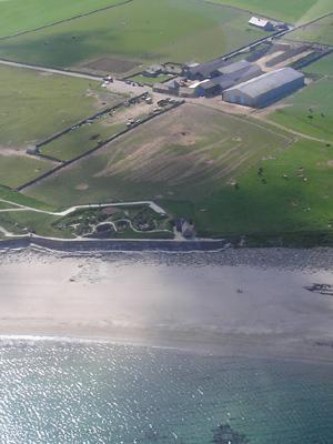 An aerial photo of Skara Brae.