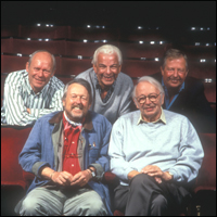 Graeme Garden, Barry Cryer, Tim Brooke Taylor, Willie Rushton, Humphrey Lyttelton on 'I'm Sorry I Havent a Clue' in 1996.