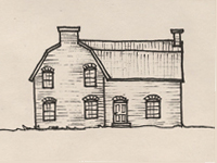Drawing of a Southern Colonial style house.