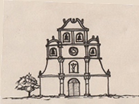 Drawing of a Spanish Colonial church.