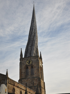 The twisty spire of Chesterfield's St Mary and All Saints Church