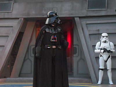 Darth Vader and a Stormtrooper from the Star Wars films.