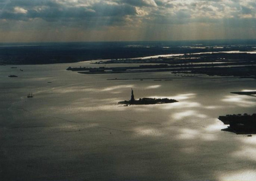 The Statue of Liberty, viewed from a distance