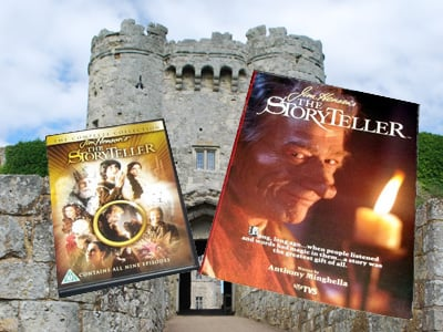 A picture of The Storyteller DVD and novelisation by Anthony Minghella, with Carisbrooke Castle in the background