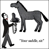 A man in a red bow tie holding a saddle addressing a horse: 'Your saddle, sir.'