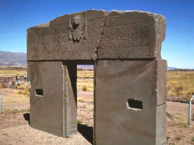 Photograph of the Sun Gate at Tiwanaku