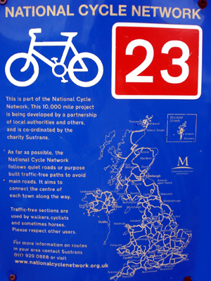 A map of the UK's National Cycle Network